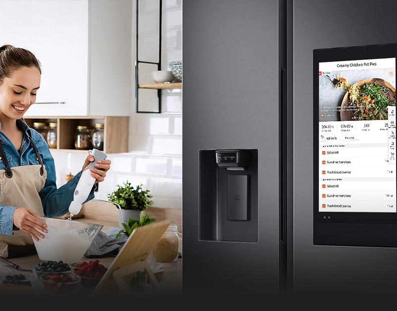 Tủ lạnh Family Hub 641 lít tích hợp giúp quản lý thực phẩm thông minh, đưa ra gợi ý cho thực đơn.
