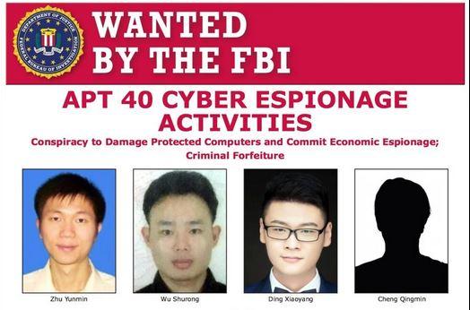 Tài liệu truy nã 4 công dân Trung Quốc do Cục Điều tra Liên bang Mỹ (FBI) công bố. Ảnh: FBI.