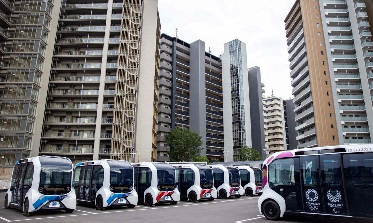 Xe điện tự lái chuẩn bị cho Olympic Tokyo. Ảnh: AFP.