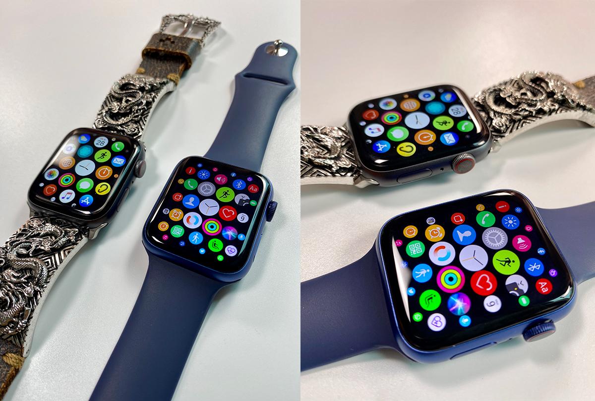 Apple Watch hàng nhái với dây đeo màu xanh dương có màn hình cong 2,5D như bản thật. Ảnh: Tùng Lâm