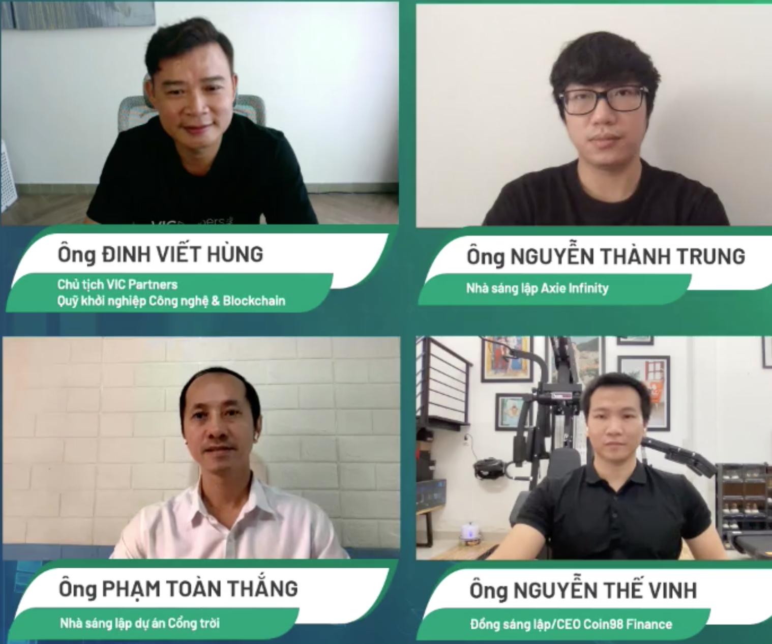 Bốn diễn giả trong CTO Talks ngày 30/7, bàn về những cơ hội và rủi ro khi đầu tư vào blockchain nói chung và thị trường tiền điện tử, NFT nói riêng.