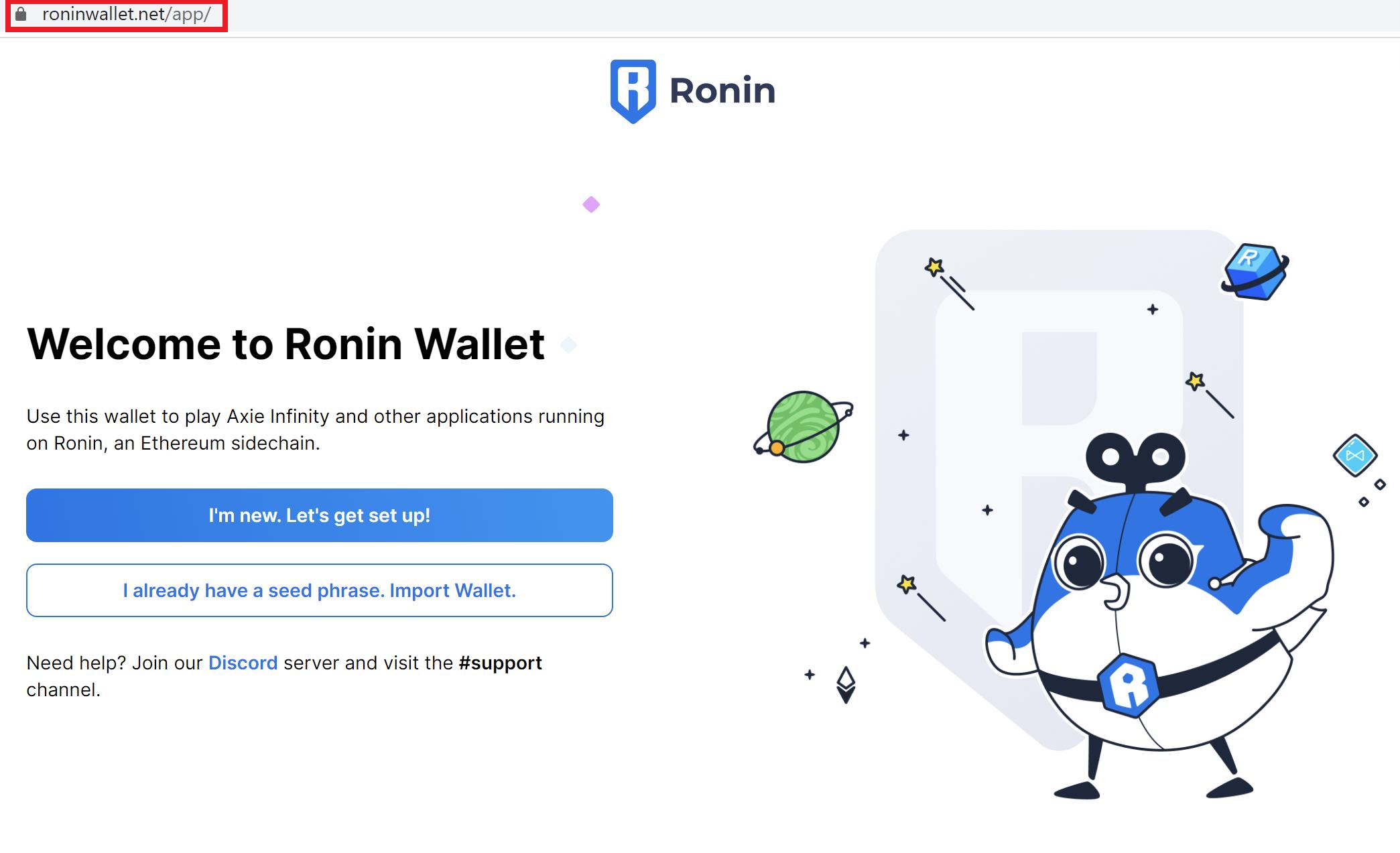Website giả mạo có giao diện giống hệt tiện ích Ronin Wallet.
