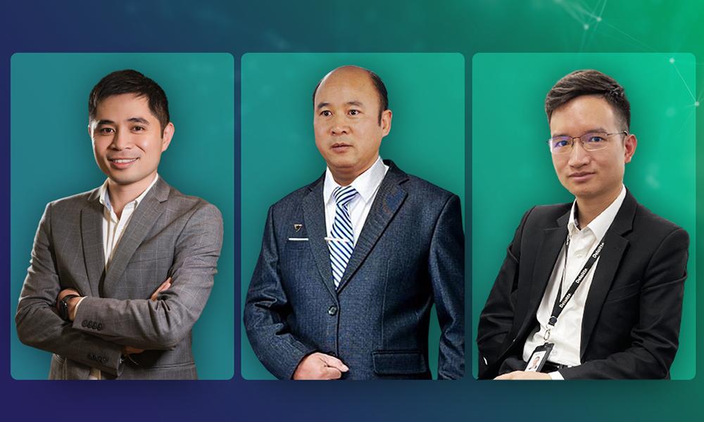 Các diễn giả FPT Software, TPBank, Deloitte Việt Nam (lần lượt từ trái qua phải) tham gia chia sẻ kiến thức tại Tọa đàm Giải pháp công nghệ vận hành không gián đoạn cho ngành ngân hàng. Ảnh: Nhân vật cung cấp.