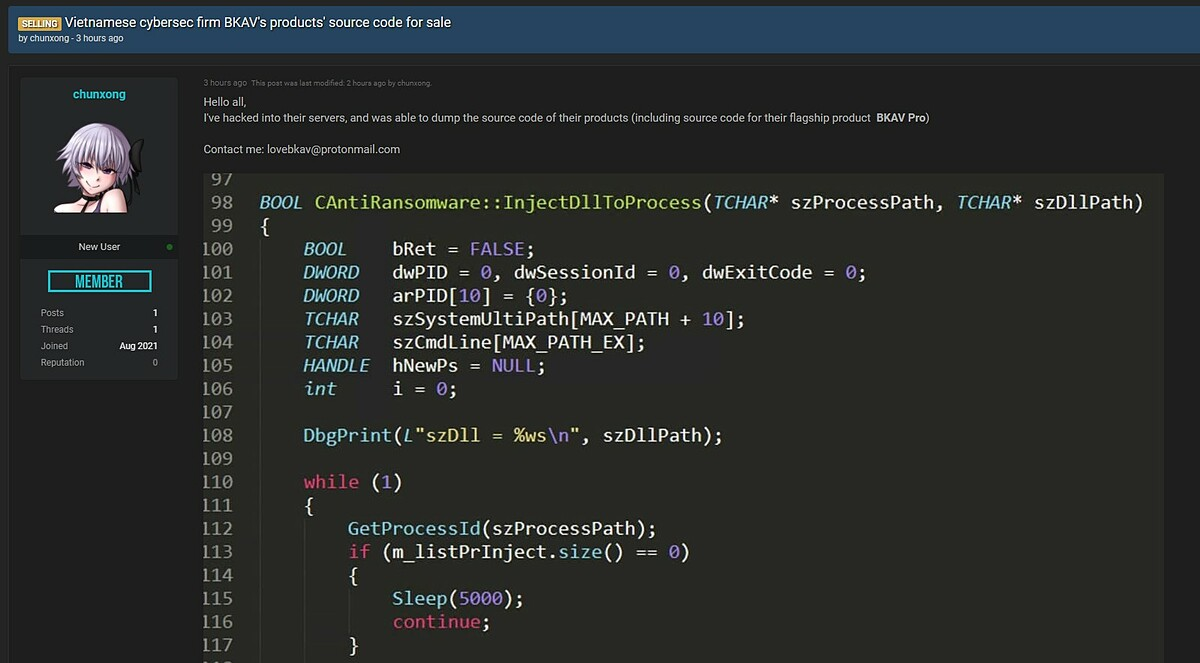 Bài rao bán dữ liệu mã nguồn Bkav trên một diễn đàn mua bán dữ liệu.