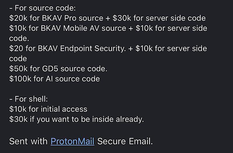 Thông tin trên được gửi qua Protonmail, một dịch vụ email có tính bảo mật cao, thường được sử dụng bởi những người muốn giấu kín danh tính. Ảnh: Khánh Phạm.