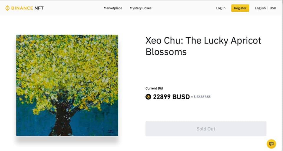 Tác phẩm Hoa Mai may mắn của Xèo Chu được trả giá gần 23 nghìn USD trên sàn Binance NFT hôm 6/8.