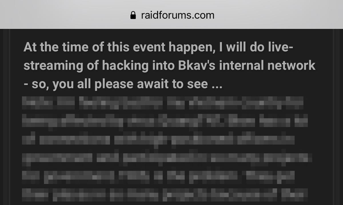 Chunxong cho biết sẽ livestream quá trình hack vào mạng nội bộ của Bkav, trong bài đăng hôm 11/8.
