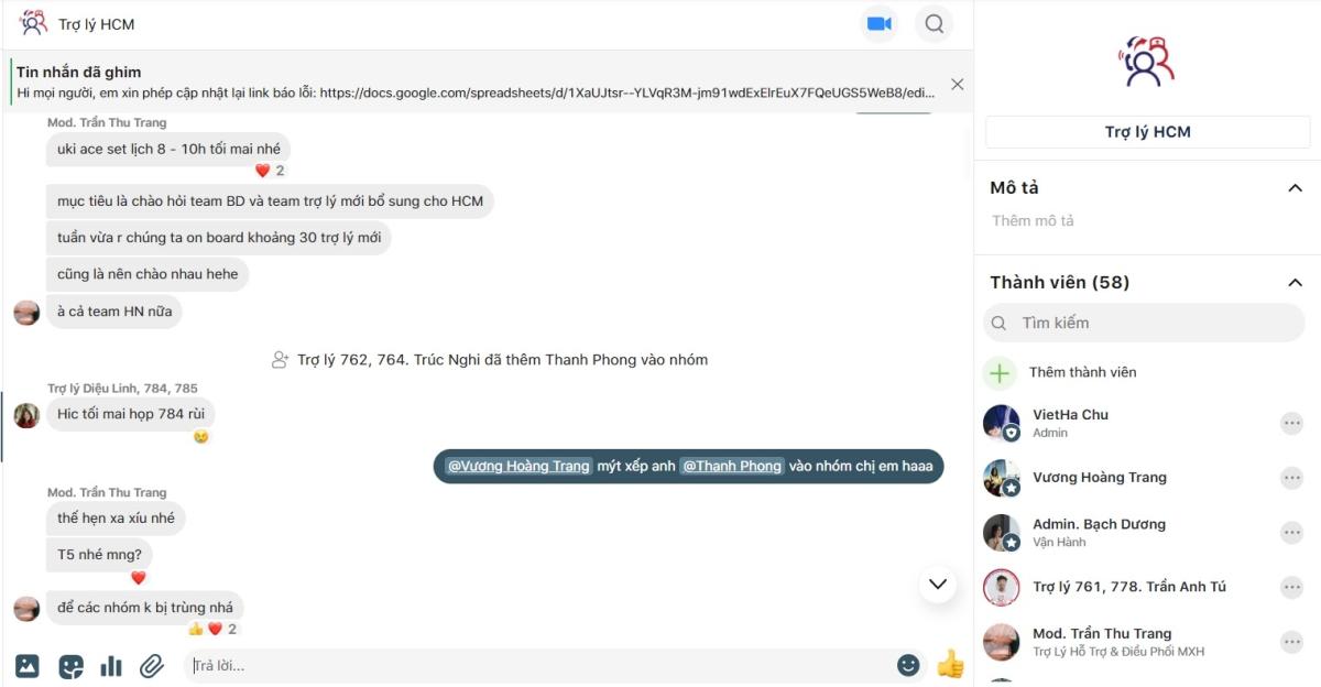 Các thành viên trong nhóm chat trao đổi công việc và đặt lịch họp qua GapoWork