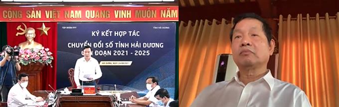 Lễ ký kết chuyển đổi số giữa UBND tỉnh Hải Dương và FPT diễn ra trực tuyến ngày 24/8.