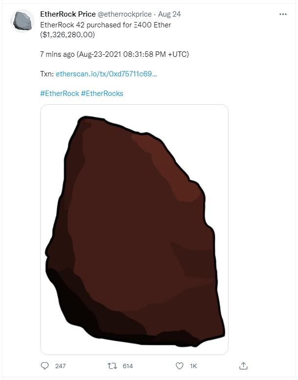 NFT hình viên đá được mua với giá tương đương 1,3 triệu USD.