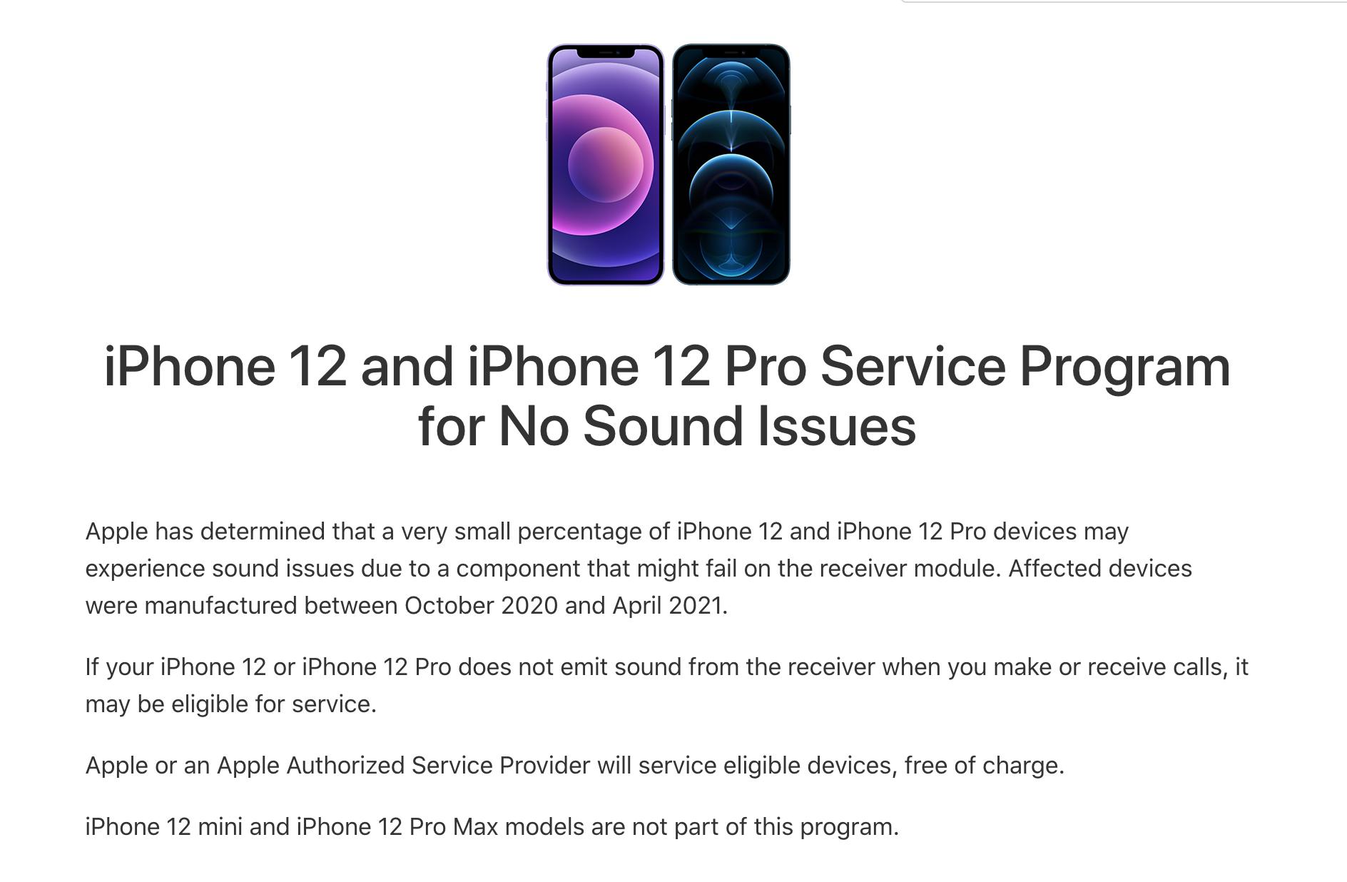Apple thông báo về lỗi và việc bảo hành cho iPhone 12, iPhone 12 Pro bị lỗi âm thanh.