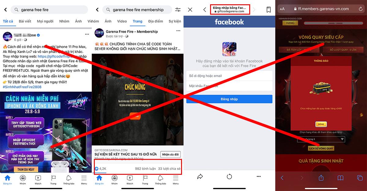 Các fanpage, website mạo danh game để chiếm tài khoản người dùng.