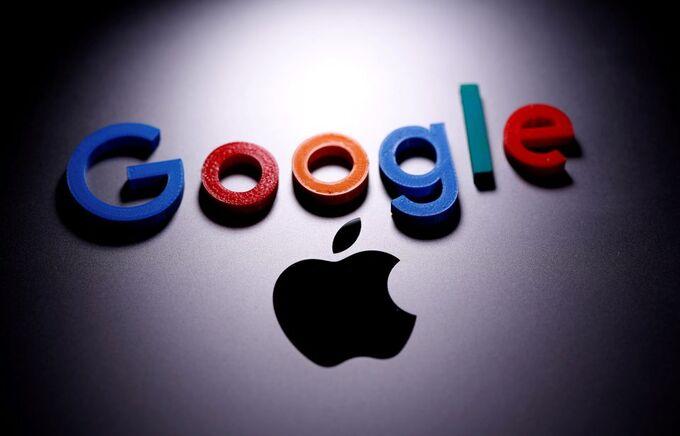 Hình ảnh logo của Google và Apple. Ảnh: Reuters