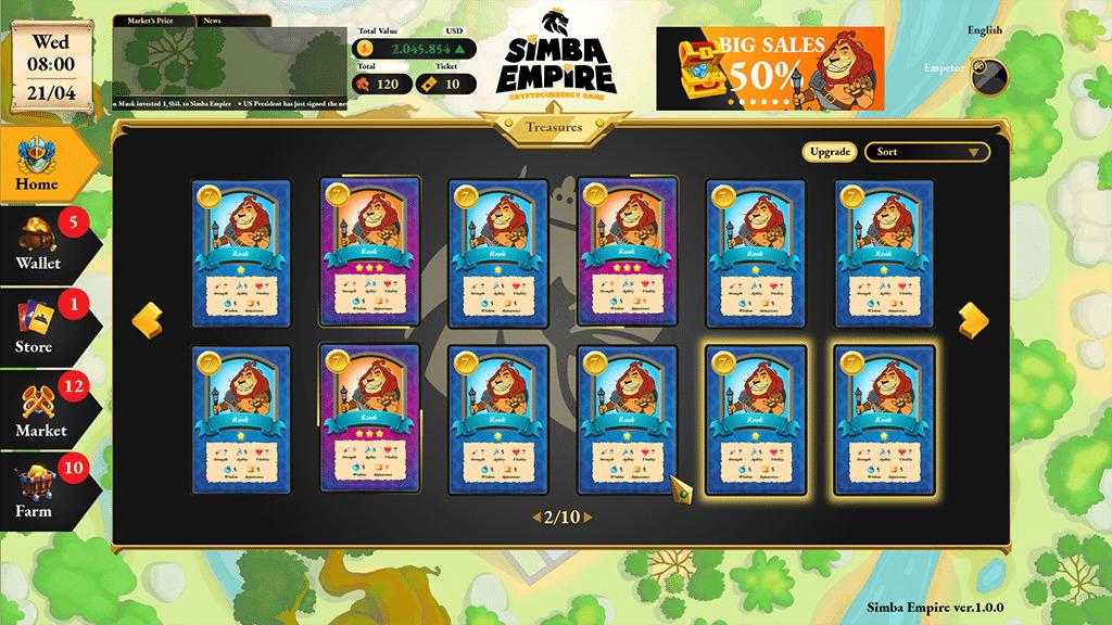 Giao diện thẻ nhân vật trong game Simba Empire. Ảnh: Coinspeaker