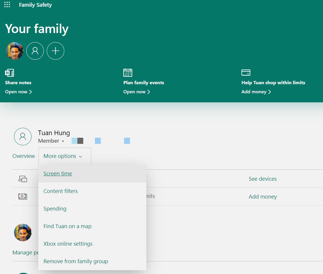 Kiểm soát thời gian dùng máy, ứng dụng và duyệt web với tài khoản trong gia đình.