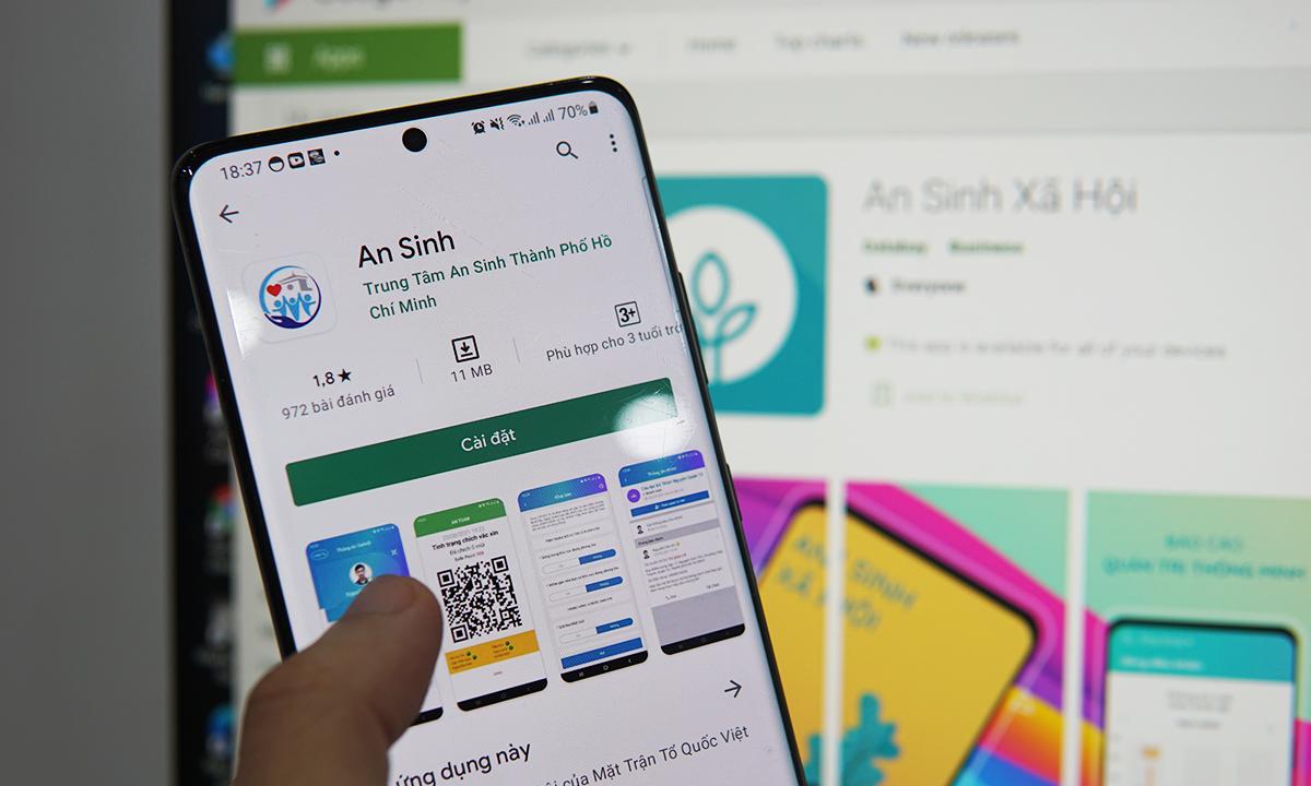 Ứng dụng An Sinh của Trung tâm An sinh TP HCM mới là app để người dân TP HCM đăng ký hỗ trợ, khác với app An Sinh Xã Hội. Ảnh: Lưu Quý