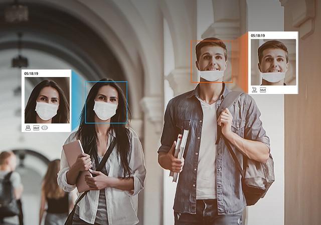 Camera AI Wisenet P-series phân biệt người đeo và không đeo khẩu trang.