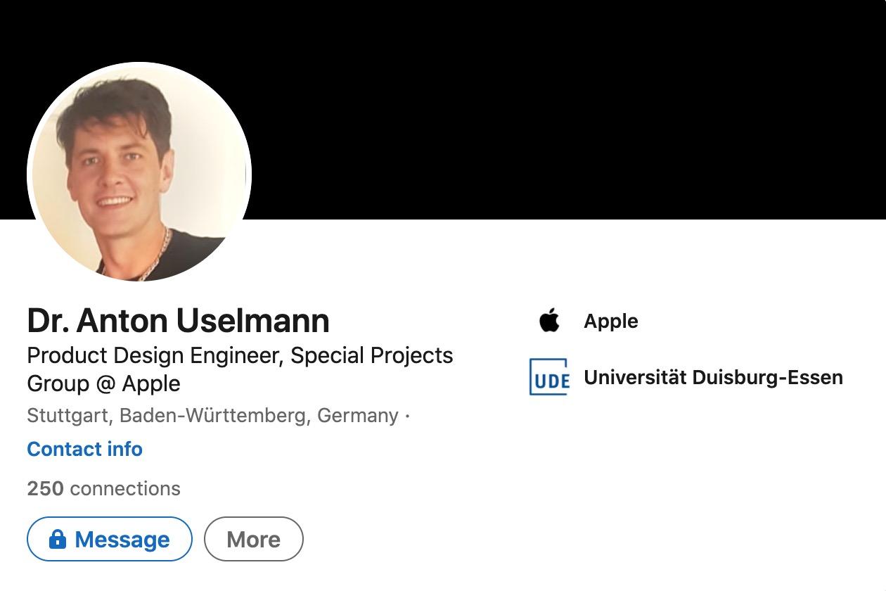 Tiến sĩ Anton Uselmann vừa đầu quân cho Apple.