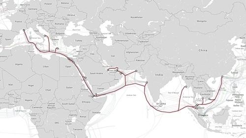 Tuyến cáp AAE-1 kết nối Việt Nam với quốc tế.