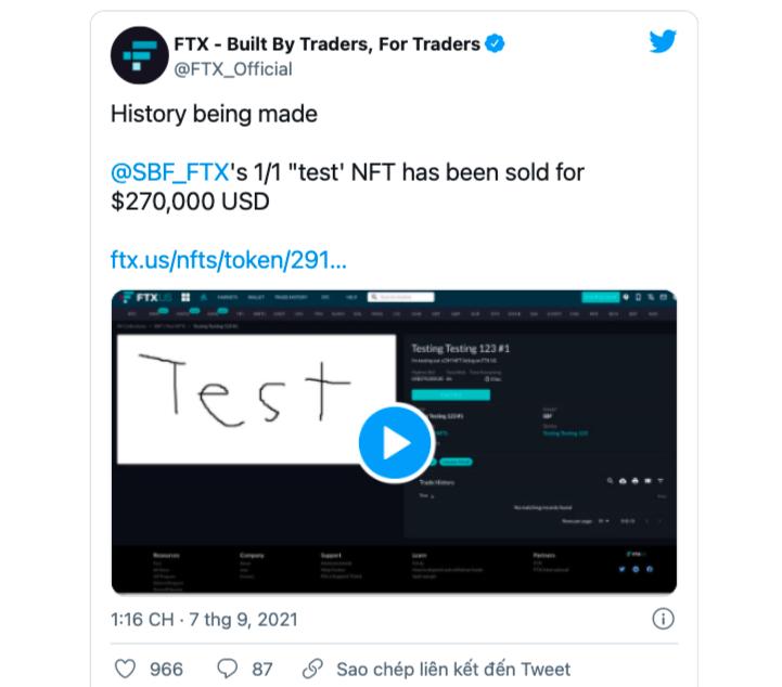 Thông báo của FTX về việc bán đấu giá thành công NFT có dòng chữ Test.