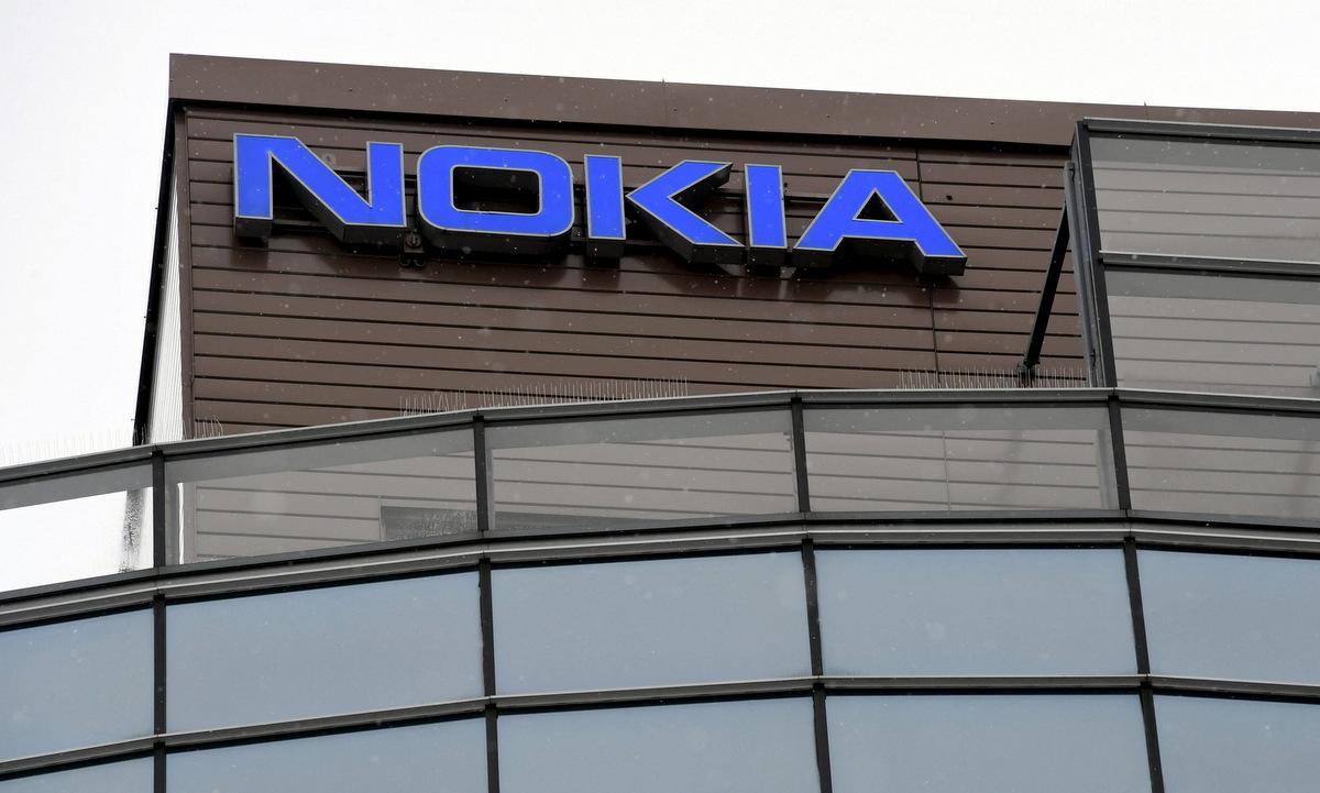 Logo tại trụ sở của Nokia ở Phần Lan hồi tháng 3. Ảnh: AFP.