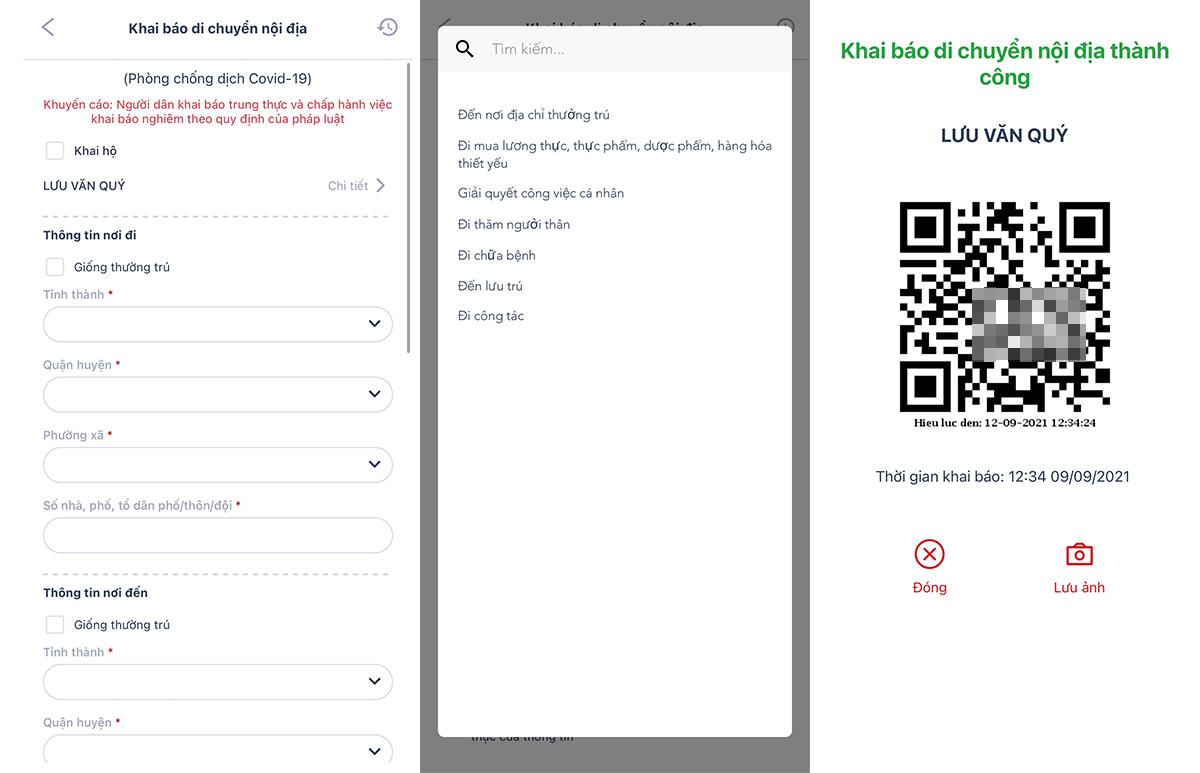 Người dùng khai báo điểm đi, điểm đến, phương tiện, mục đích di chuyển, và nhận về mã QR.