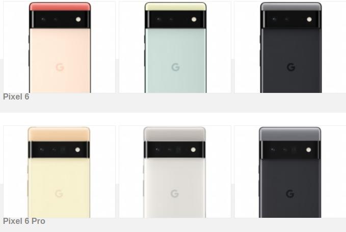 Các màu sắc của Pixel 6 và 6 Pro.