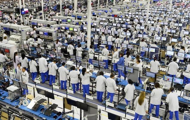 Nhà máy sản xuất iPhone ở Trịnh Châu của Foxconn. Ảnh: Sina