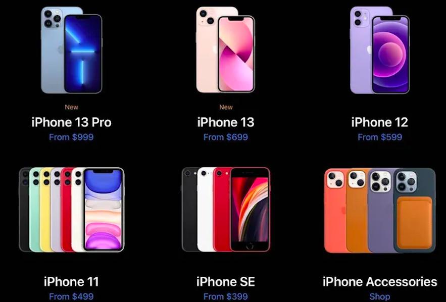 Giá bán của một số iPhone trên website Apple. Ảnh: The Verge