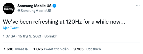 Đoạn tweet của Samsung Mobile US trên Twitter.