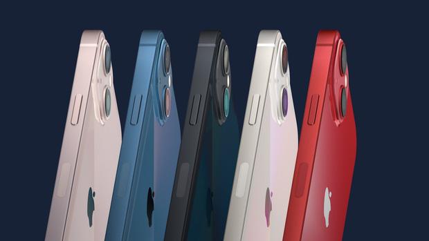 Năm màu sắc trên loạt iPhone 13 và 13 mini. Ảnh: Apple
