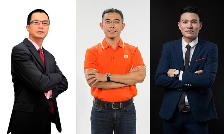 Ba diễn giả của Tech Talks số 5: ông Phùng Việt Thắng, ông Hoàng Việt Anh và ông Nguyễn Trọng Huấn.