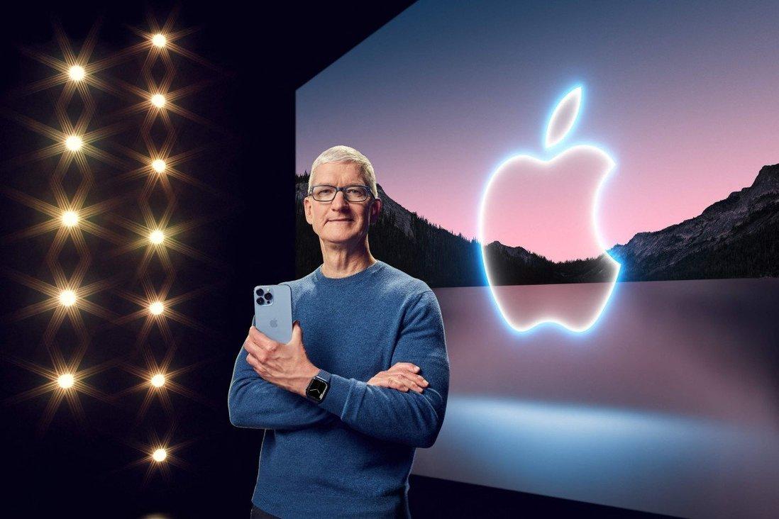 CEO Apple, Tim Cook, tại sự kiện ra mắt iPhone 13 ngày 15/9. Ảnh: AFP
