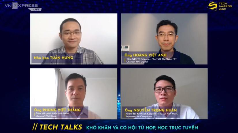Ba diễn giả trong tọa đàm Tech Talks phiên số 5 về Khó khăn và cơ hội từ họp, học trực tuyến.