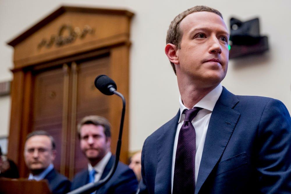 CEO Facebook Mark Zuckerberg tại buổi điều trần trước quốc hội Mỹ ngày 23/10/2019. Ảnh: AP