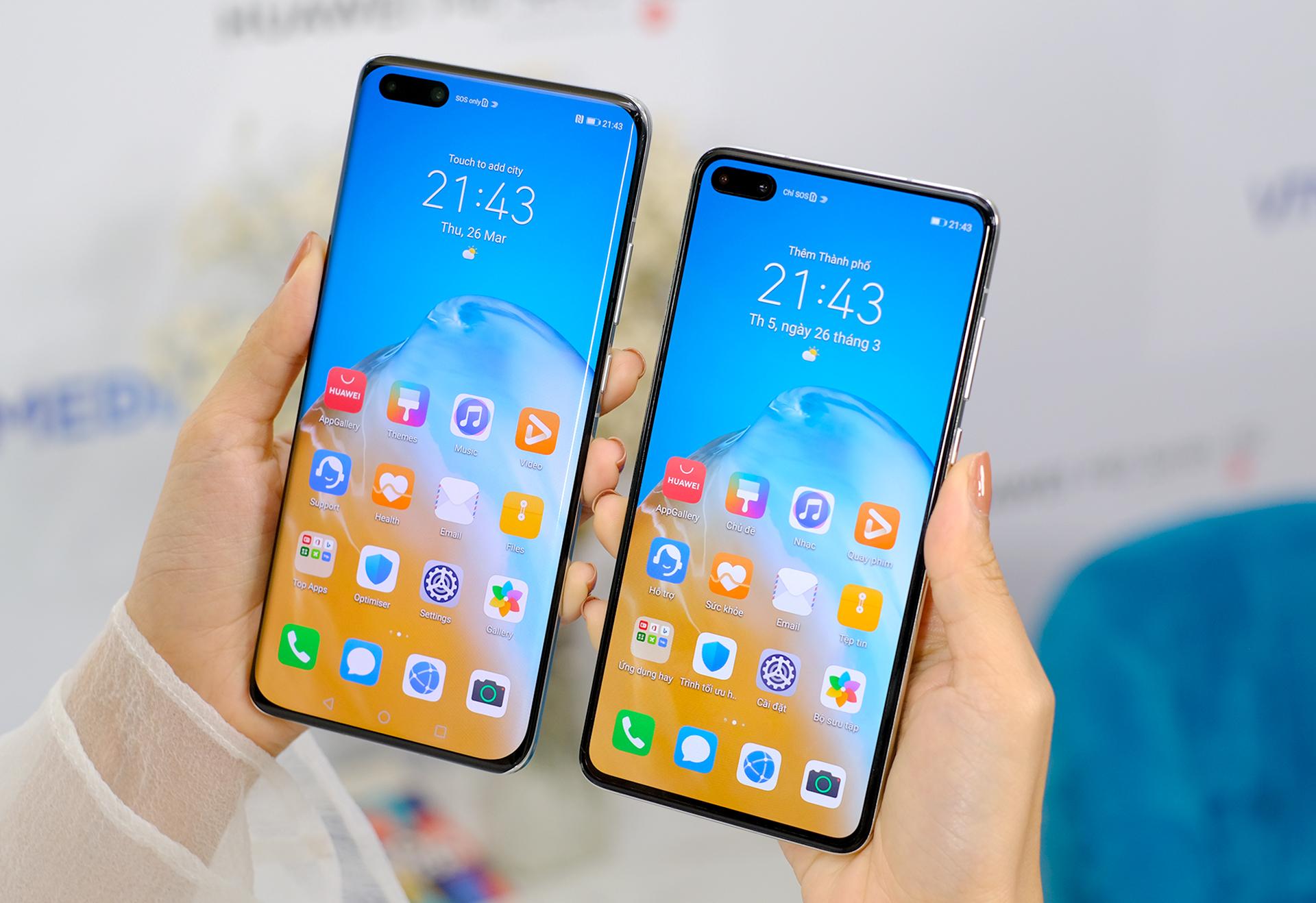 Huawei P40 Pro+ và P40 Pro là những mẫu điện thoại hiếm hoi của Huawei được bán tại Việt Nam gần đây. Ảnh: Tuấn Hưng