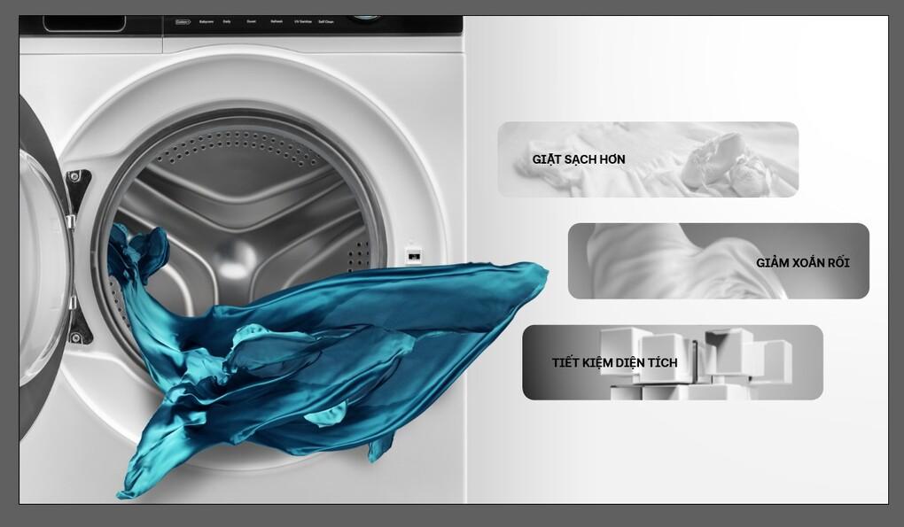 Lồng giặt 525 mm tăng khả năng làm sạch, giảm nhăn nhàu, bảo vệ quần áo.