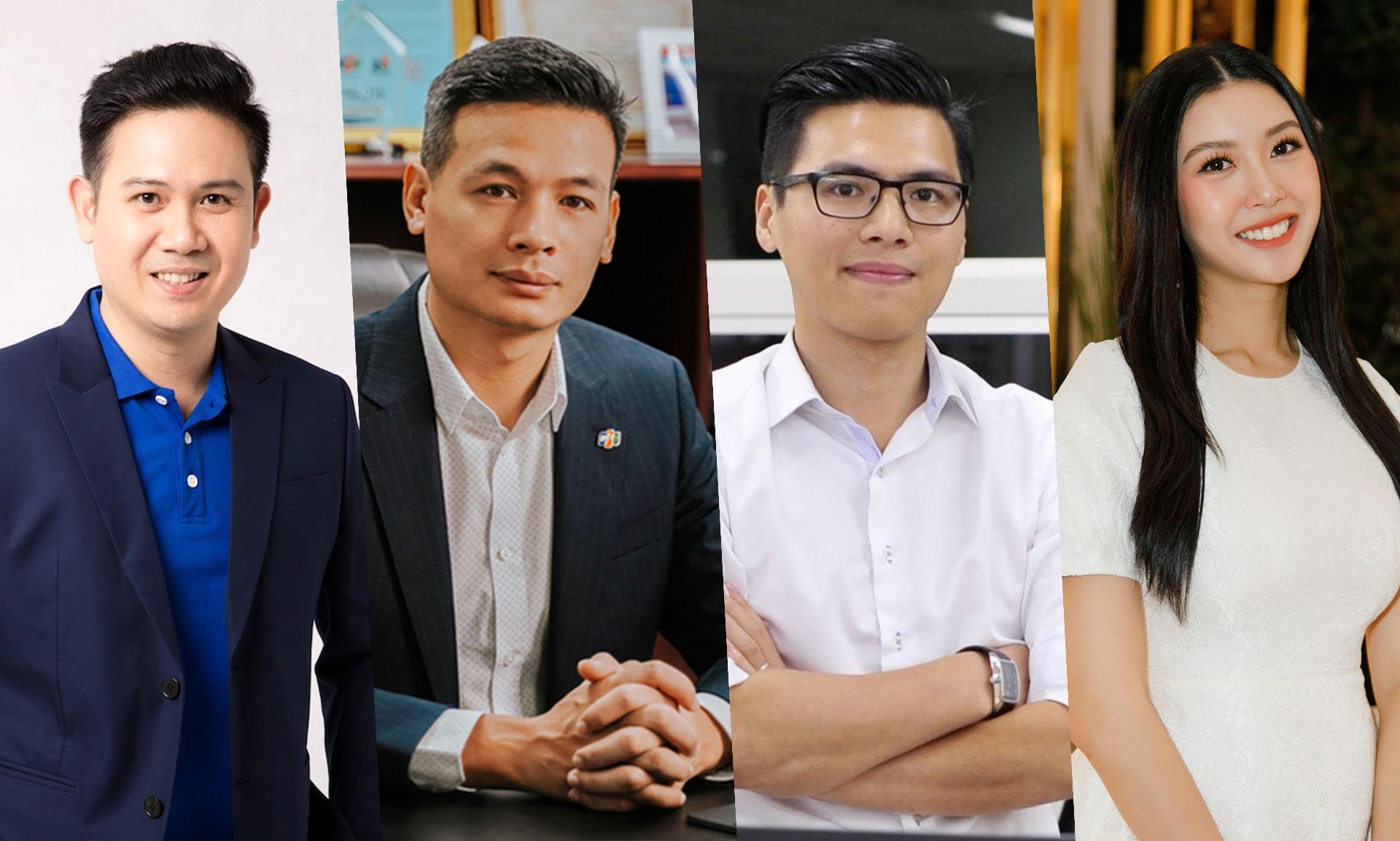 Từ trái qua phải: ông Phạm Văn Tam, ông Vũ Anh Tú, ông Phạm Quang Cường và Á hậu Quốc tế Thuý Vân.