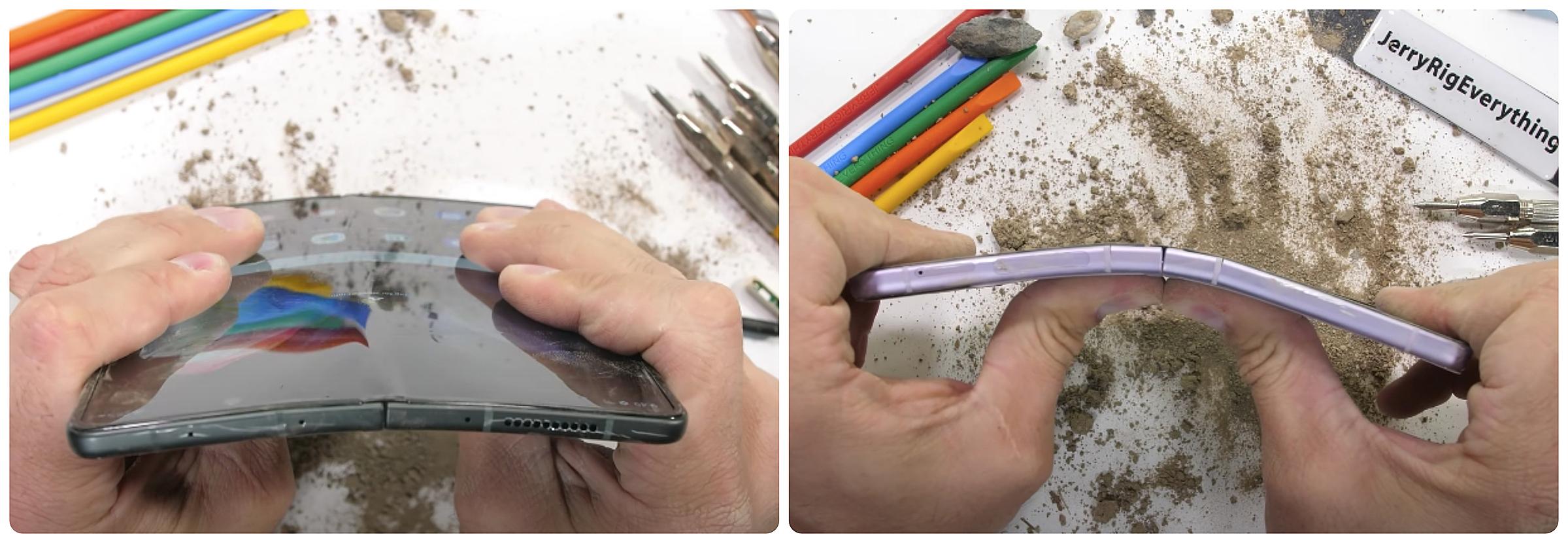 Hai mẫu điện thoại vẫn hoạt động tốt sau khi phủ bụi, bẻ cong 2-3 lần.