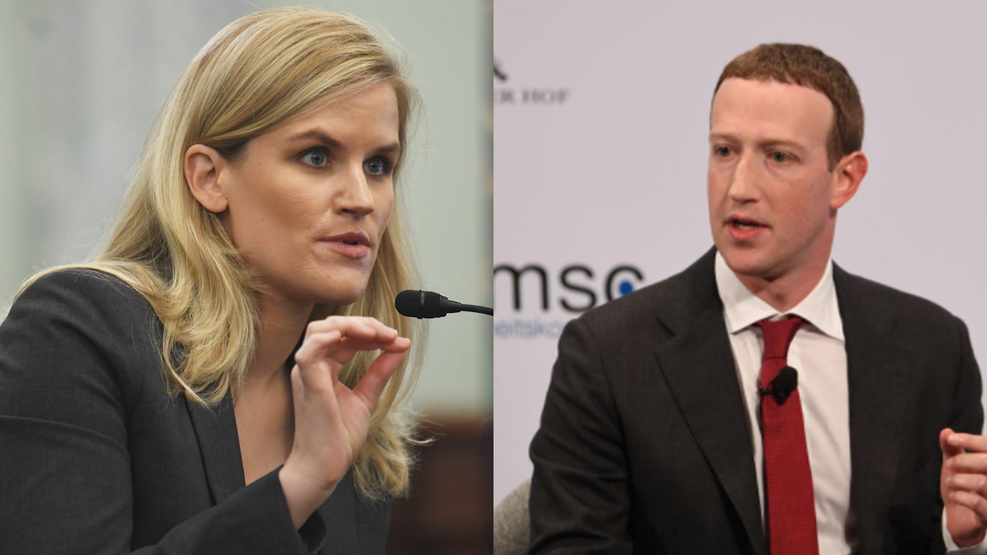 Frances Haugen và Mark Zuckerberg. Ảnh: USA Today/Reuters