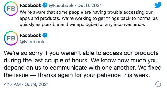 Facebook đăng 2 thông báo liên quan tới sự cố mới.