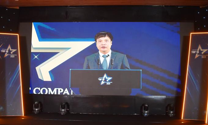 Ông Nguyễn Văn Khoa, Chủ tịch Vinasa, phát biểu trực tuyến tại lễ công bố Top 10 doanh nghiệp CNTT Việt Nam do Vinasa tổ chức.