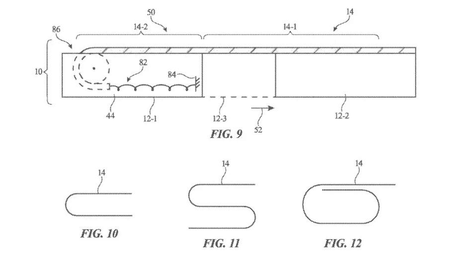 Mô tả về cơ chế cuộn màn hình trong smartphone màn hình cuộn của Apple. Ảnh: USPTO