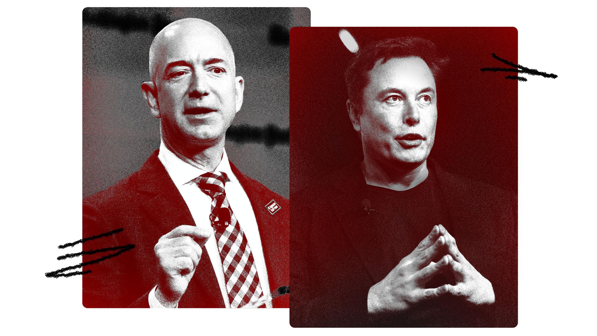 Theo bảng xếp hạng của Forbes, Jeff Bezos (trái) và Elon Musk (phải) là hai tỷ phú giàu nhất nhưng ít làm từ thiện nhất. Ảnh: Vanityfair