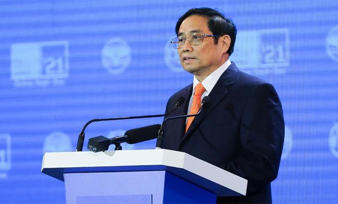 Thủ tướng Phạm Minh Chính phát biểu tại ITU Digital World 2021. Ảnh: Trần Huấn