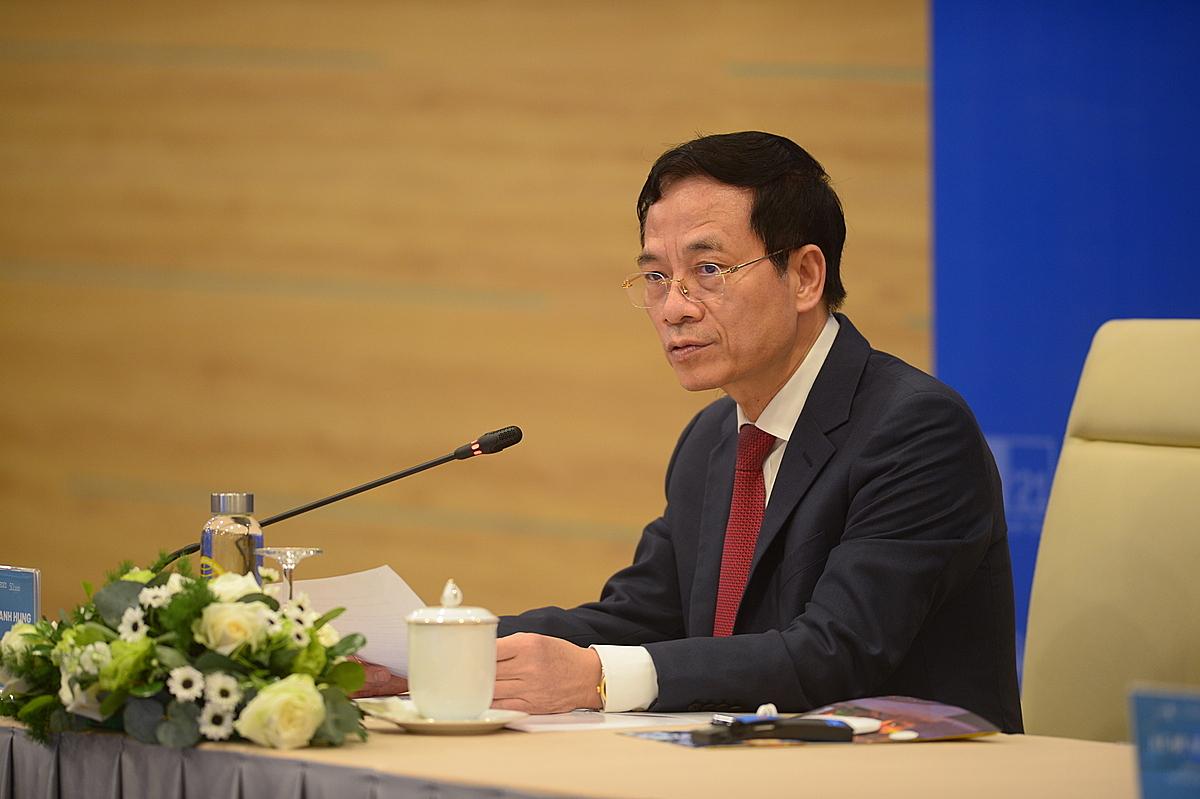 Bộ trưởng Nguyễn Mạnh Hùng phát biểu tại Hội nghị Bộ trưởng trong khuôn khổi ITU Digital World 2021.